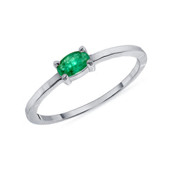 Genuine Oval Emerald Ring in White Gold