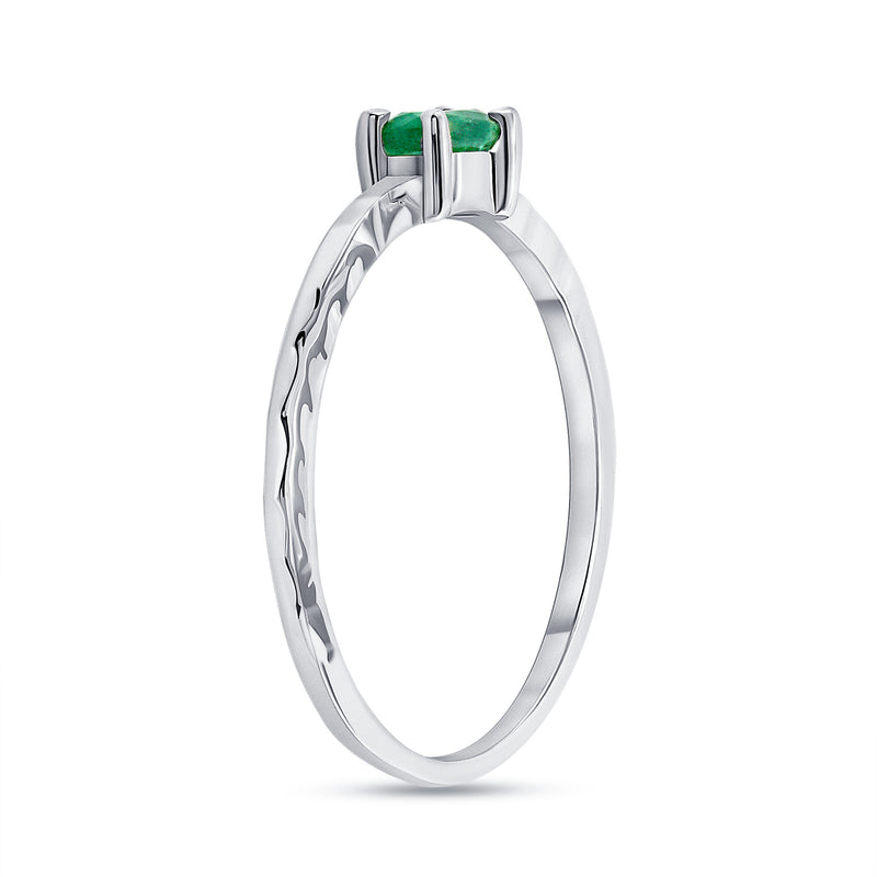 Genuine Oval Emerald  Stackable Ring in White Gold