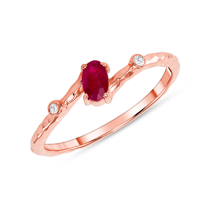Oval Genuine Ruby and Diamond Ring in Rose Gold