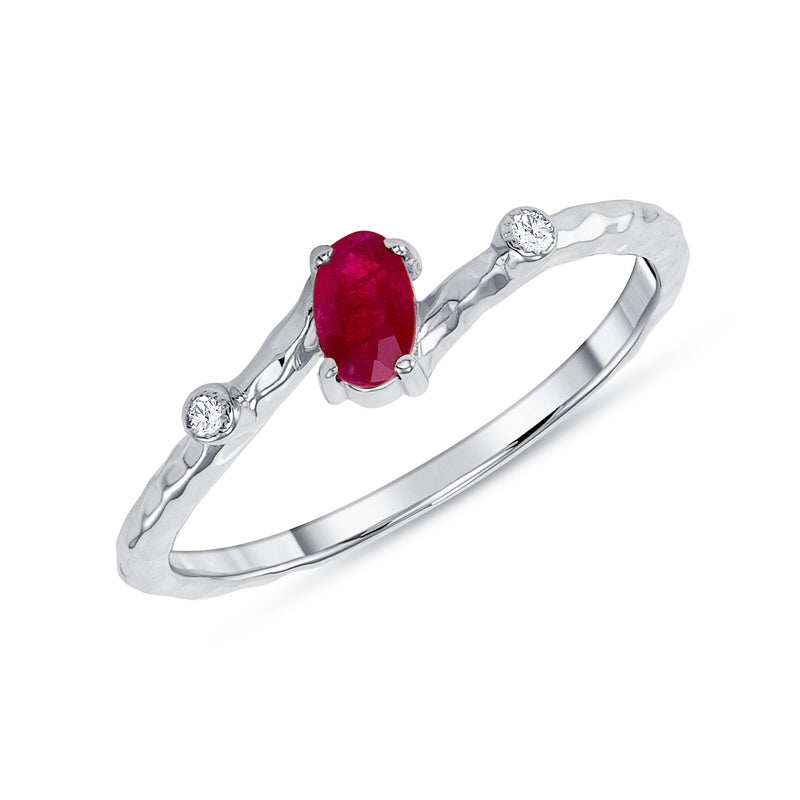 Oval Genuine Ruby and Diamond Ring in White Gold