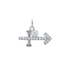 Sagittarius Zodiac Pendant/Necklace with Cubic Zirconia in Sterling Silver