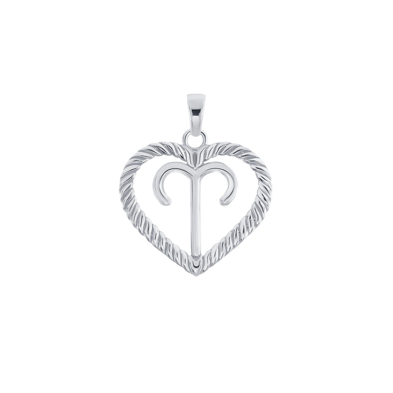 Aries Zodiac Heart Pendant in Sterling Silver