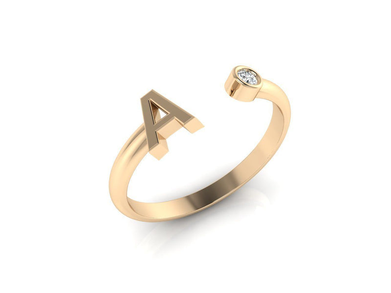 Dainty Diamond Initial 'A' Ring in Solid Yellow Gold