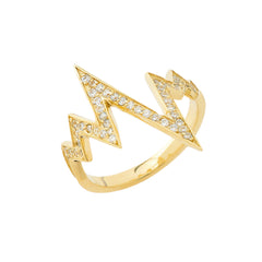 Dainty Diamond Heartbeat Cardiogram Statement Ring in Solid Yellow Gold