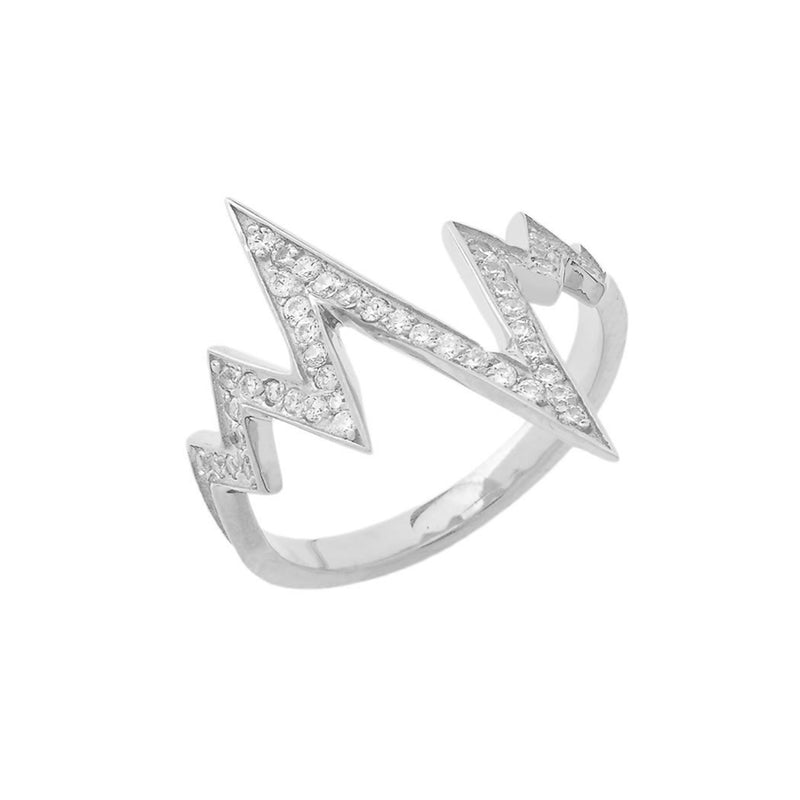 Dainty Diamond Heartbeat Cardiogram Statement Ring in White Gold