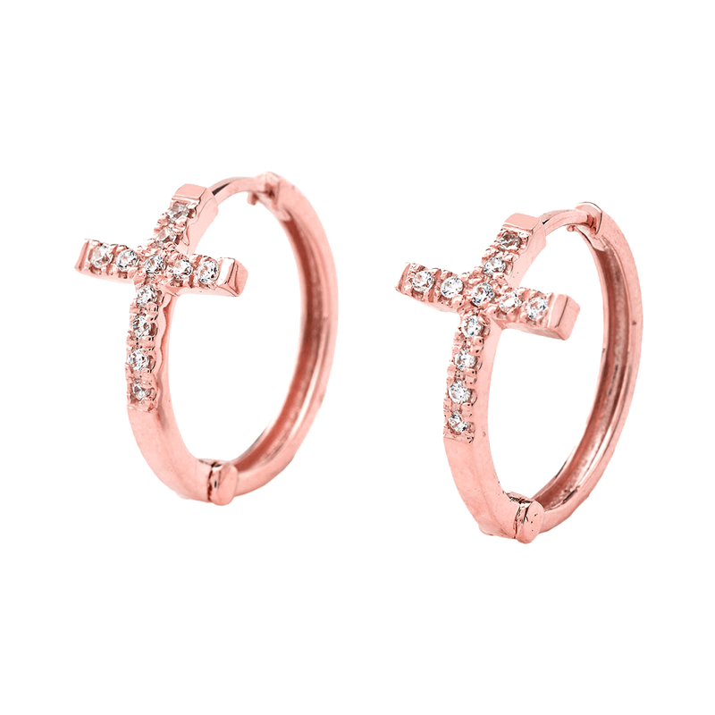 Diamond Cross Hoop Earrings in Solid 14k Gold