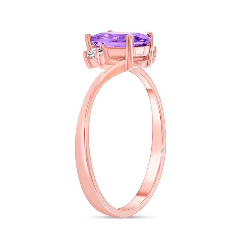 Oval Genuine Amethyst Gemstone Ring In Rose Gold