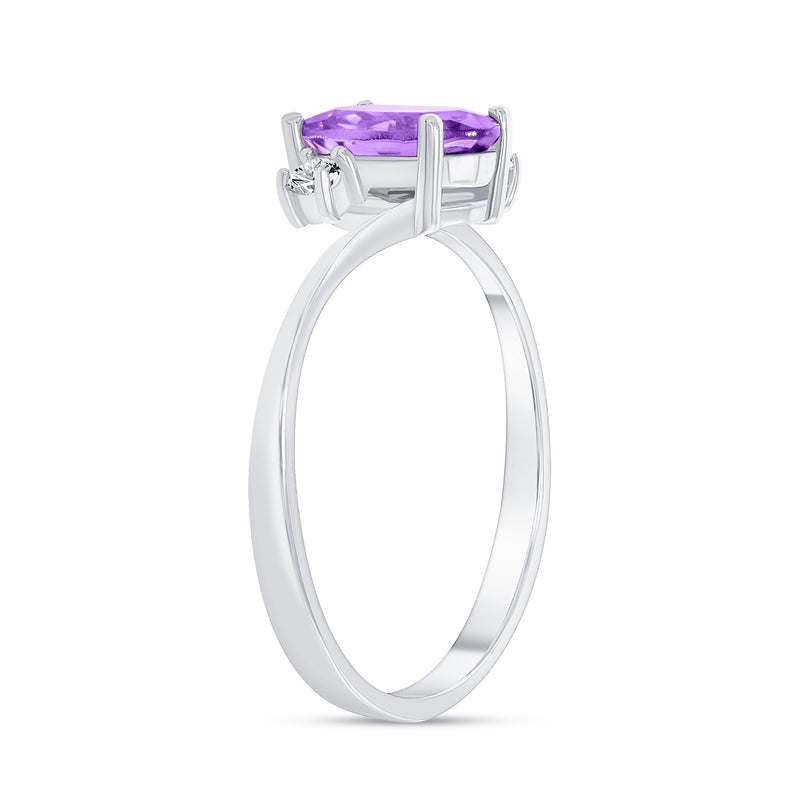 Oval Genuine Amethyst Gemstone Ring In Sterling Silver