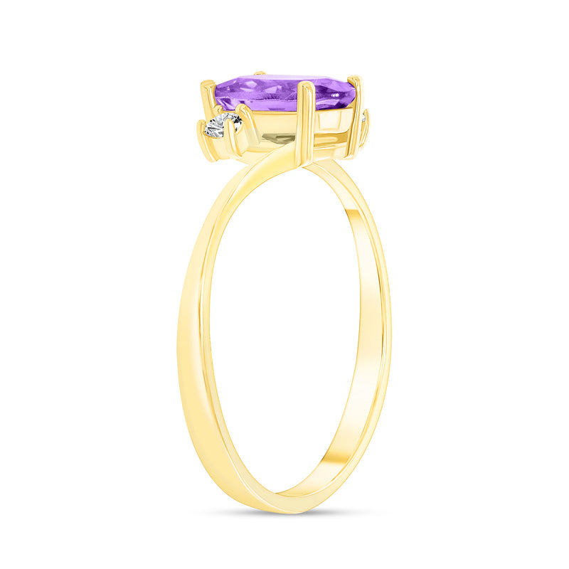 Oval Genuine Amethyst Gemstone Ring In Yellow Gold