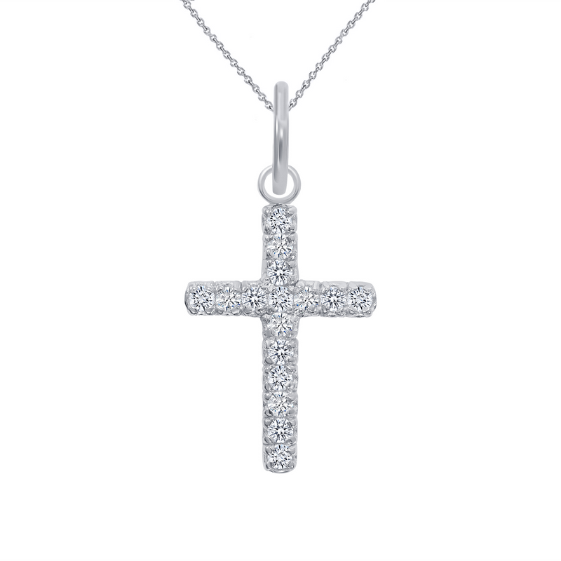 Diamond Small Cross Pendant/Necklace In Solid Gold