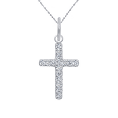 Cubic Zirconia Small Cross Pendant/Necklace In Solid Gold
