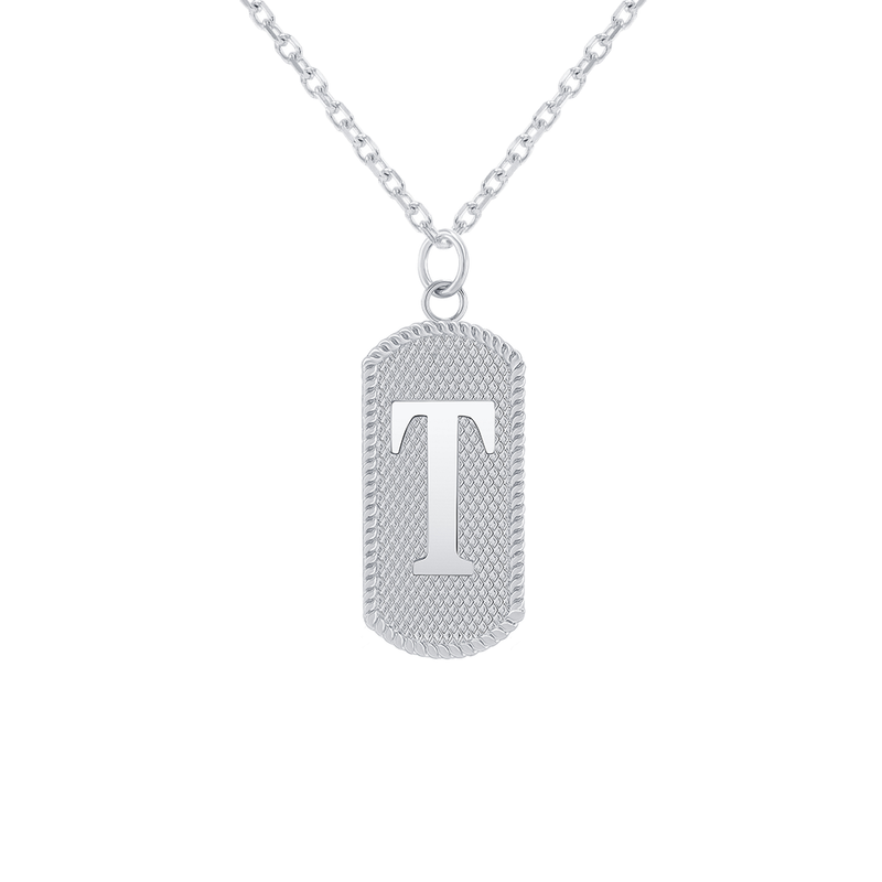 "Customizable Dog Tag Initial ""T"" Necklace/Pendant in Sterling Silver"