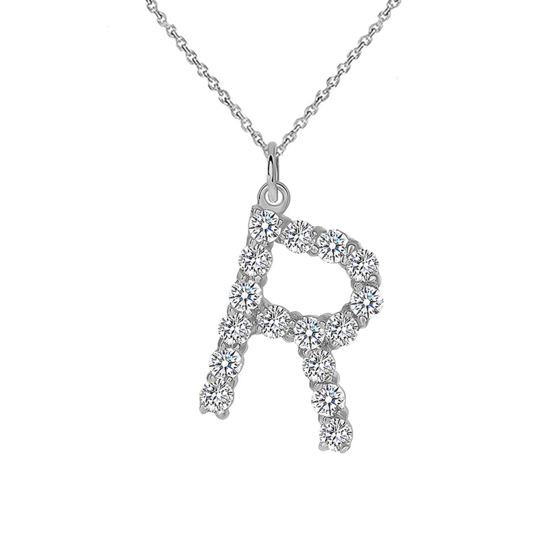 "Initial ""R"" Diamond Letter Pendant/Necklace in Solid Gold"