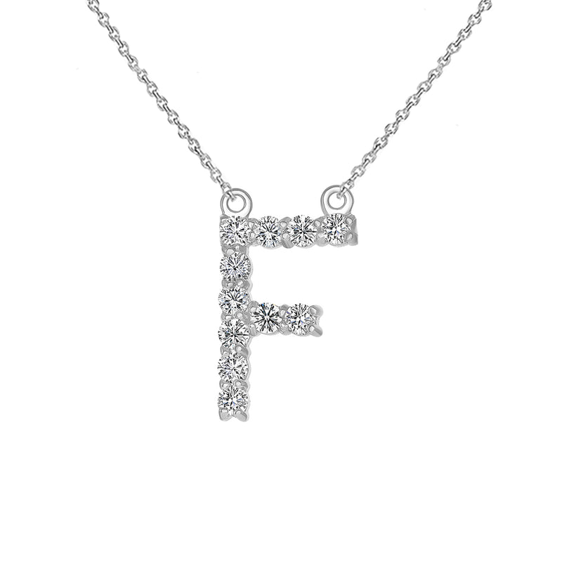 "Initial ""F"" Diamond Letter Necklace in Solid Gold"