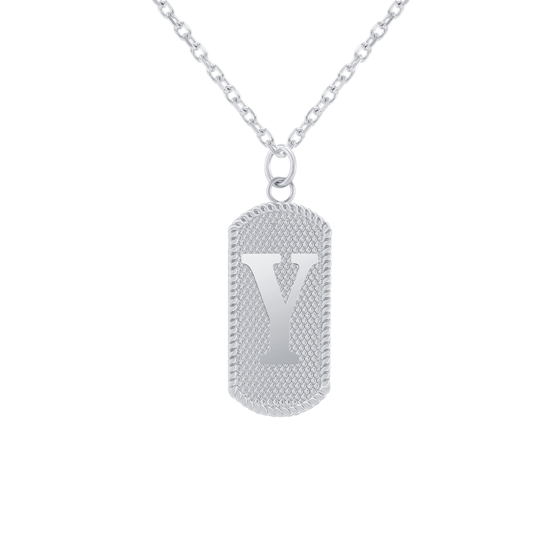"Customizable Dog Tag Initial ""Y"" Necklace/Pendant in Sterling Silver"