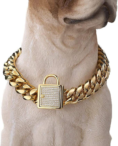 VVS Jewelry 18k Gold 14mm Luxury Cuban Dog Collar