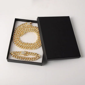 iced out gold chain with box