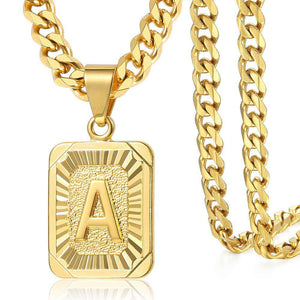 18k Gold Initial Pendant Necklace With FREE Cuban Chain