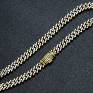 VVS Jewelry 925 Sterling Silver  Iced Out Prong Moissanite Cuban Chain (Passes Diamond Check)