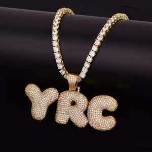 Custom Bubble Letter Pendant + Tennis Or Rope Chain - no-stylist-bling