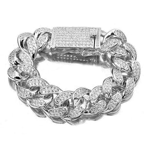 Thick Iced Out Silver Cuban Chain Bracelet