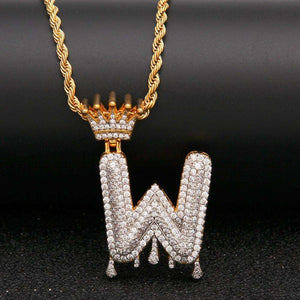 Gold/Silver Crown Ice Drip Bubble Initial Letter Pendant Necklace