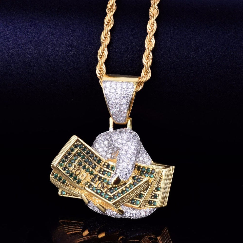 Dollar on hand Pendant Necklace