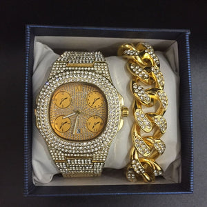 Luxury Cuban Chain + Bracelet + Ring + Watch Set