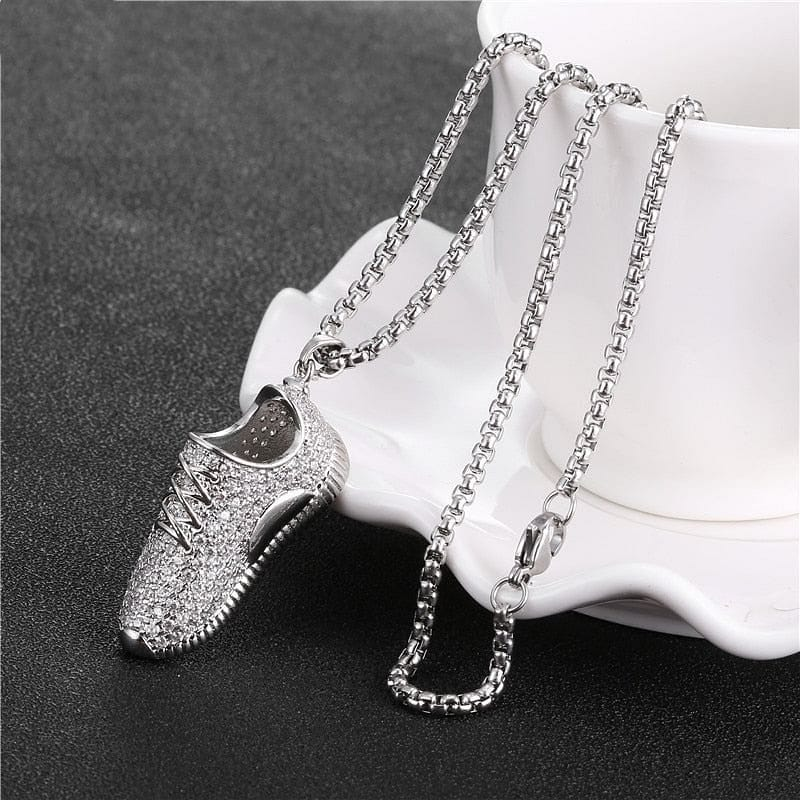 Iced Sneaker Pendant Necklace