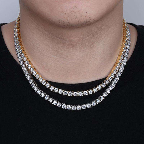 18k Gold AAA CZ Tennis Chain
