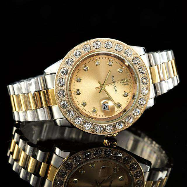 Gold Rollie Style Watch in Rotatable Bezel Sapphire Glass