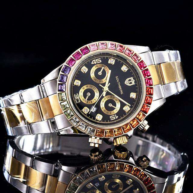 Luxury Quartz Rollie Style Watch with Color Rhinestone