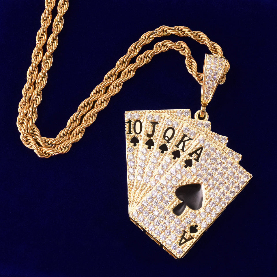 Gold/Silver Poker Card Bling Chain