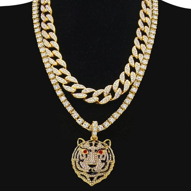 Drizzy Tiger Tennis plus Cuban Choker Set