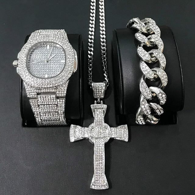 Gold/Silver Crucifix Necklace + Bracelet + OG Bust Down Watch Set