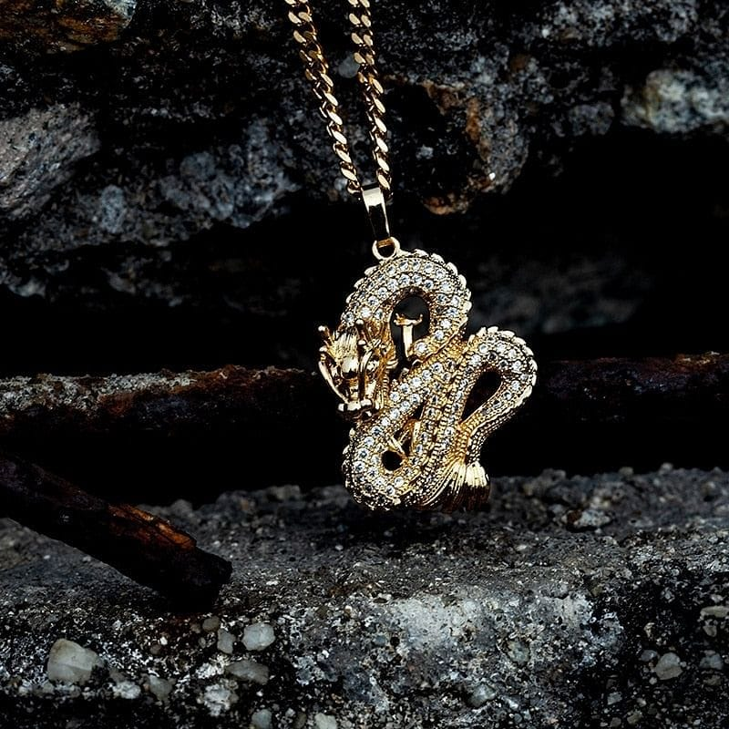 Gold/Silver Dragon Pendant Necklace
