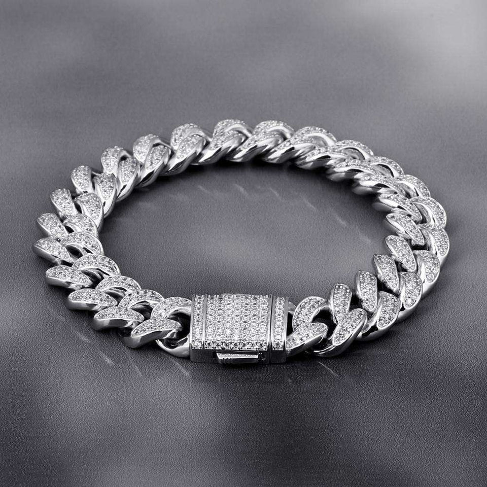 VVS Jewelry 12MM White Gold Prong Cuban Bracelet