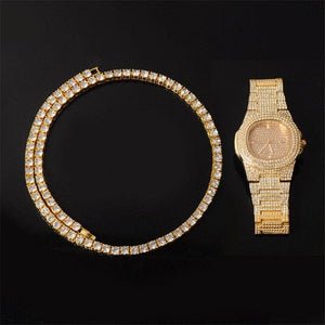 Gold/Silver 5mm Micro Pave Tennis Chain + Tennis Bracelet + FREE Watch Bundle