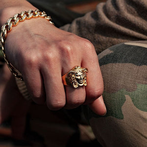 Gold Medusa Head Ring