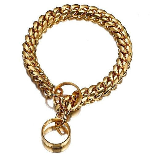 Adjustable Gold Cuban Dog Collar