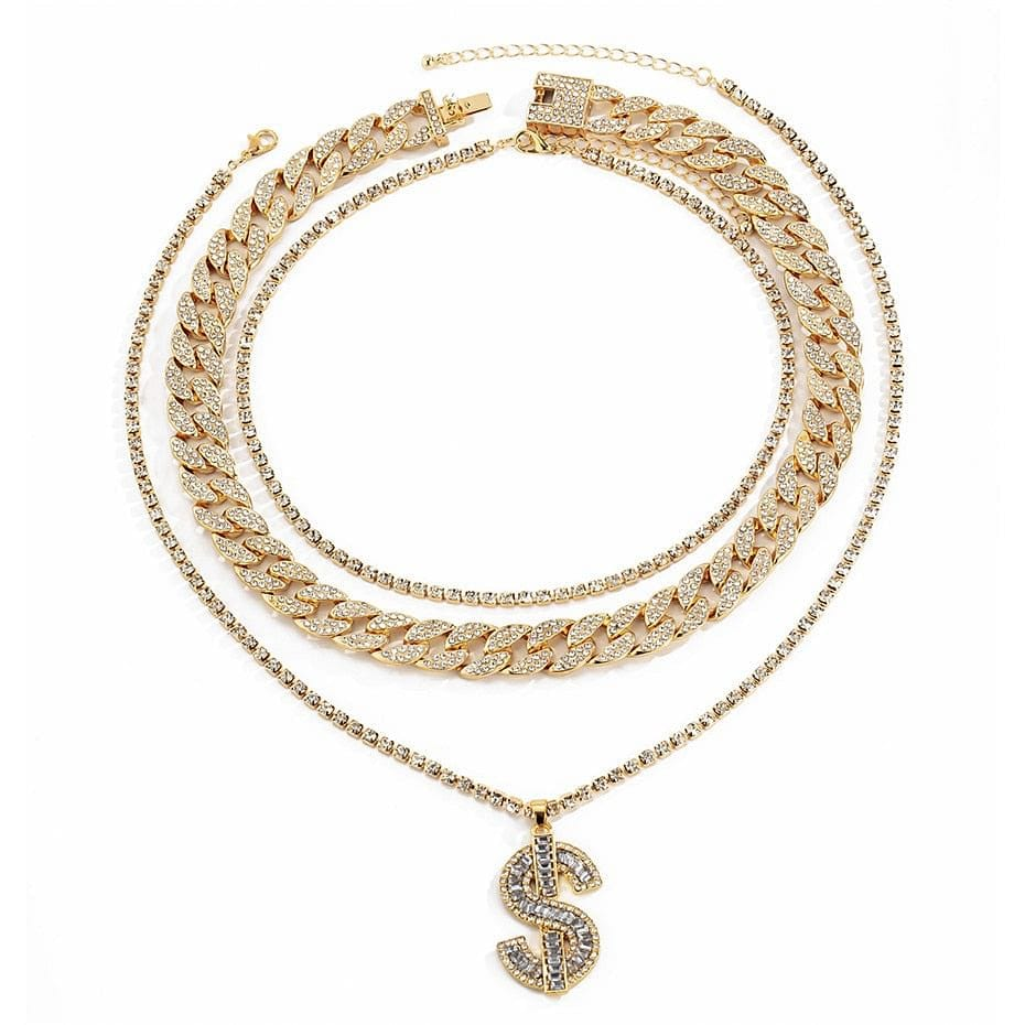 Gold/Silver Cuban Tennis Dollar Sign Choker Bundle
