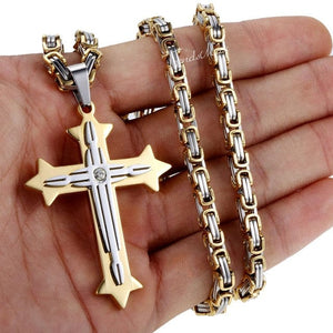 Vintage Cross Byzantine Pendant Necklace