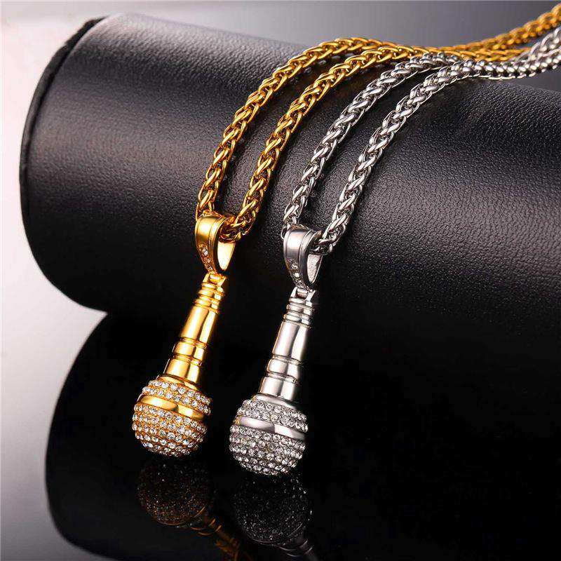 Iced Out Gold Microphone Chain Necklace - no-stylist-bling