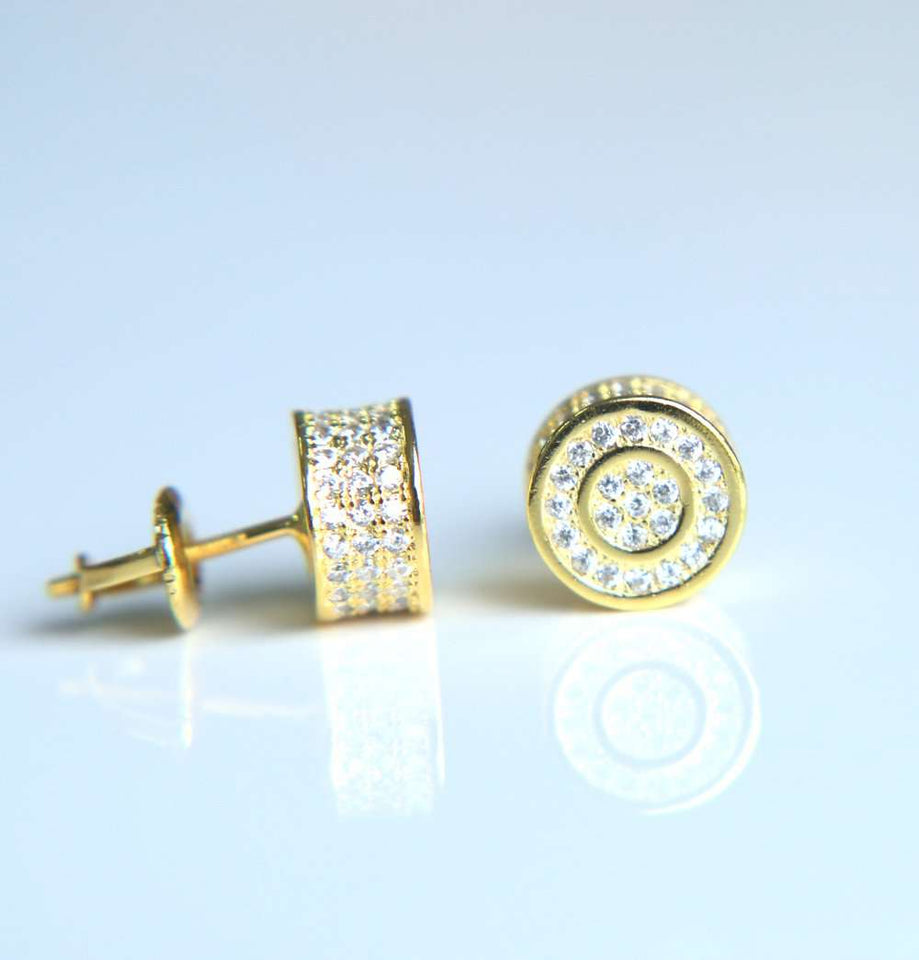 Thicc Circle Bling Gold/Silver Stud Earrings - no-stylist-bling