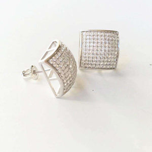 Square Bling Gold/Silver/Rosegold Stud Earrings - no-stylist-bling