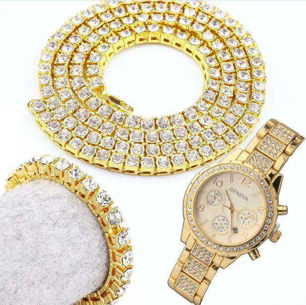 Draped in Gold Watch, Bracelet, and Chain Combo - no-stylist-bling