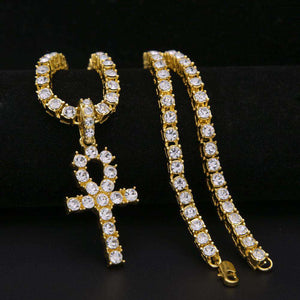 Gold Tennis Chain + Ankh Pendant Set - no-stylist-bling