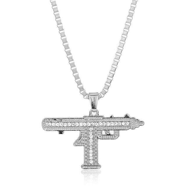 Sub Gun Uzi Hip Hop Pendants & Necklaces for Men