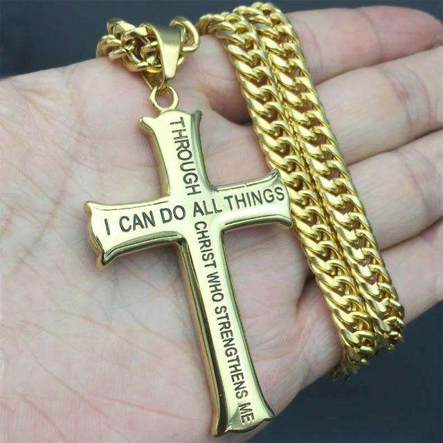 Men's Gold/Silver Stainless Steel Cross Jesus Piece Necklace Bible Verse With Curb Chain