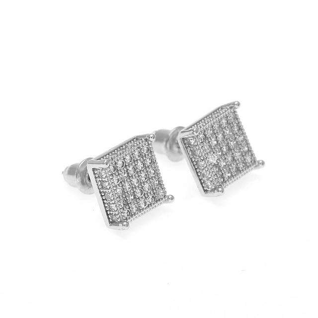 Thin Square Bling Geometric Stud Earrings - no-stylist-bling